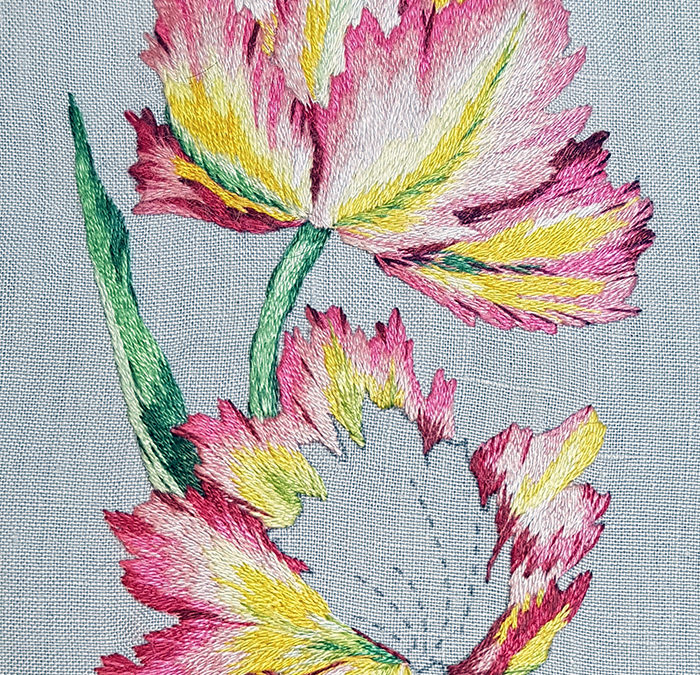 Needle painted tulips, flower 2, petals 3 and 4