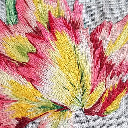 Needle painted tulips, flower 2, petal 5